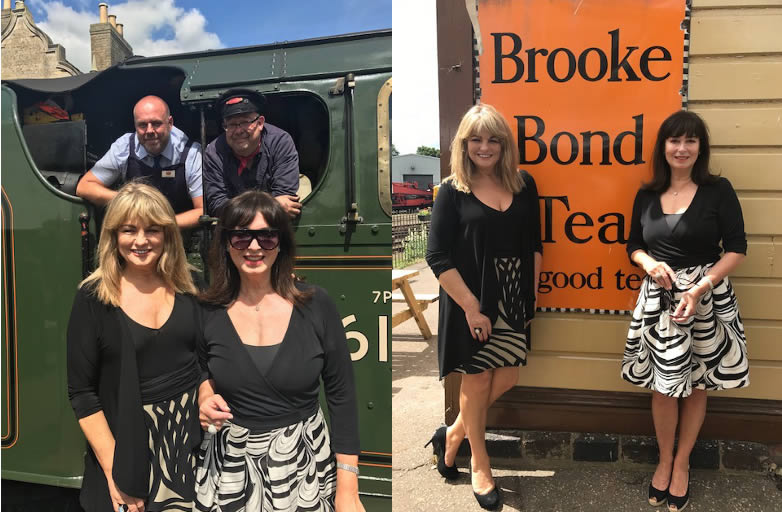 Carole Ashby, Alison Worth with Don Crick at Nene Valley Railway