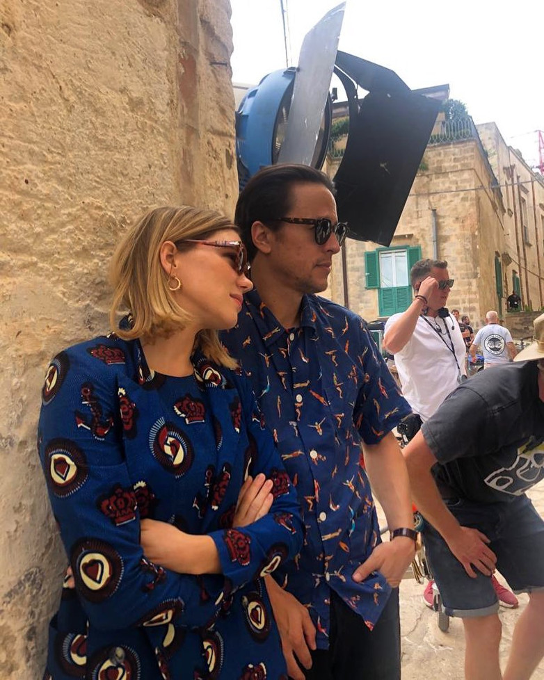 Cary Fukunaga and Lea Seydoux on location in Matera for No Time To Die