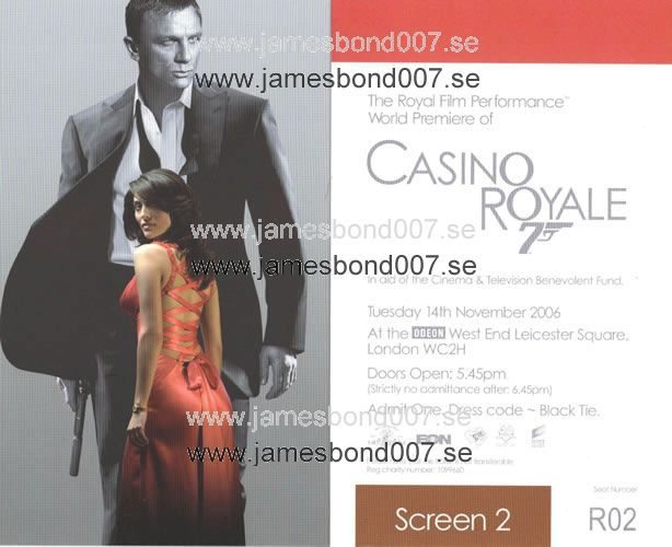 Casino Royale London World Premiere Ticket