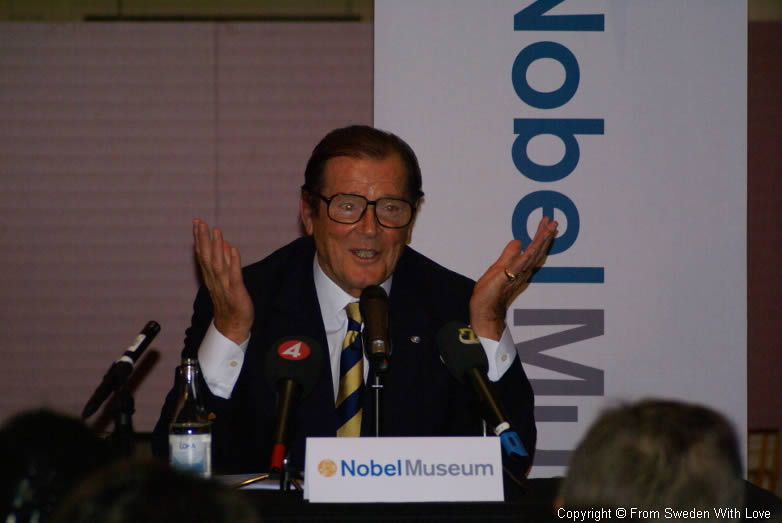 Roger Moore at the Nobel Museum in Stockholm