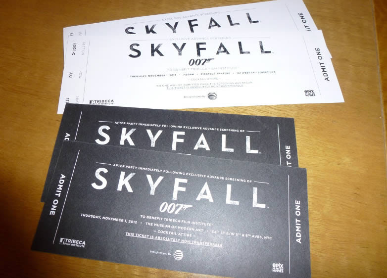 Skyfall New York premiere tickets
