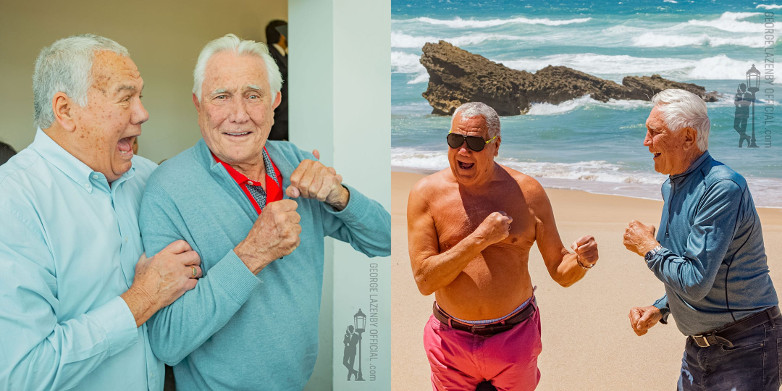George Lazenby and Terry Mountain in Portugal