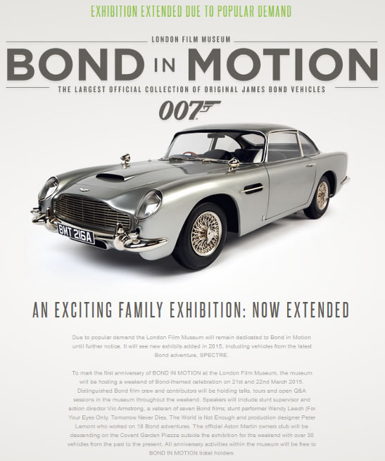 Bond in Motion 2015 London film museum