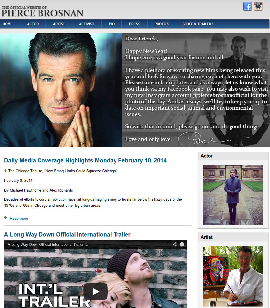 Pierce Brosnan official website