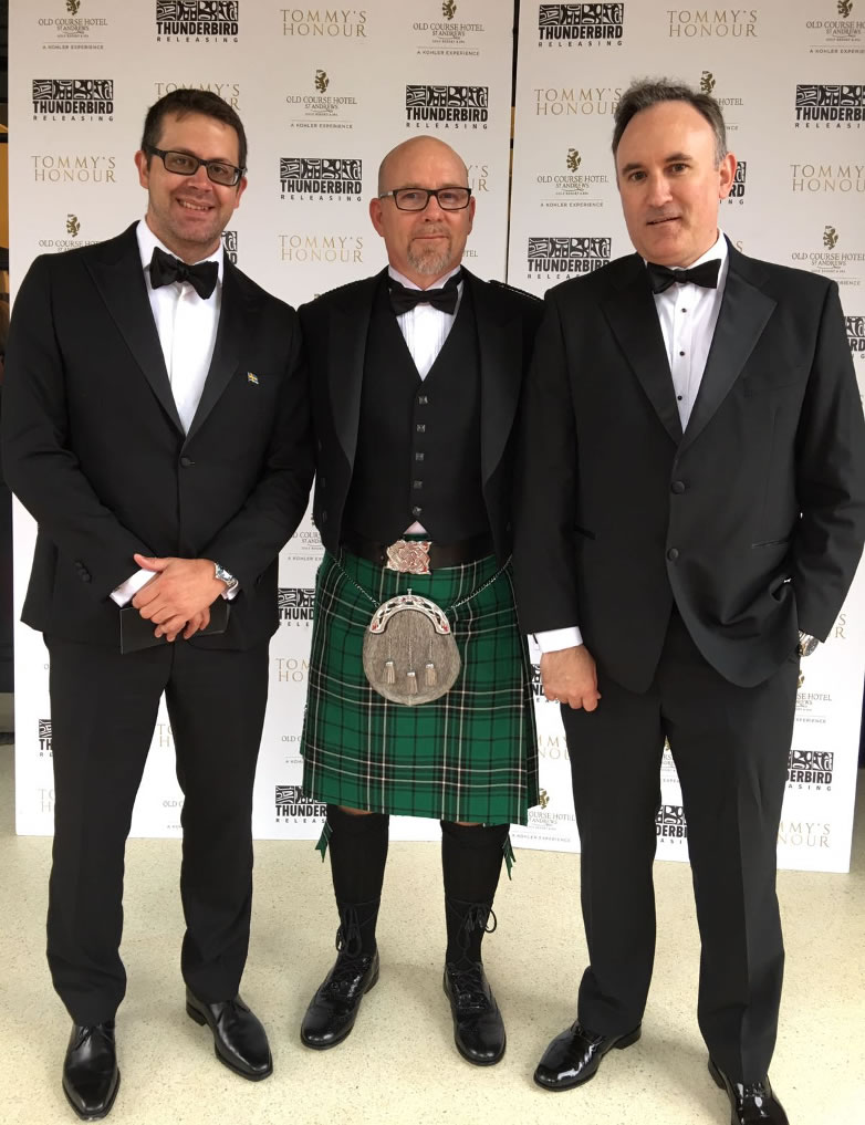 Anders Frejdh, Jason Connery och Brian Smith på Tommy's Honour premiären vid New Picture Cinema i St. Andrews