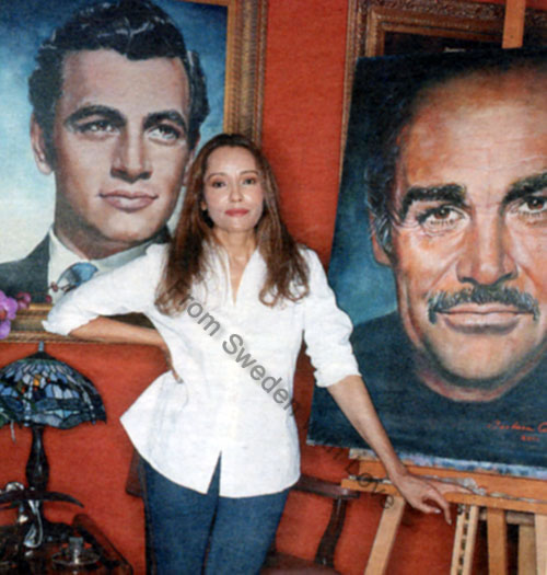 Barbara Carrera Sean Connery art