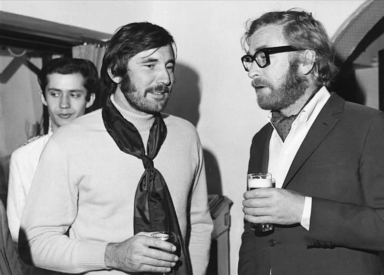 George Lazenby with Michael Caine in London