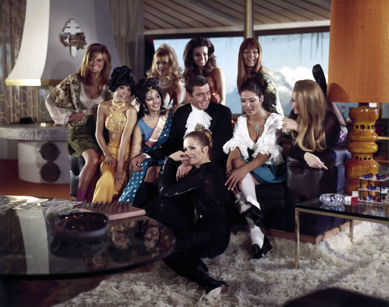 George Lazenby and the Bond girls on the set of On Her Majestys Secret Service at Schilthorn Piz Gloria
