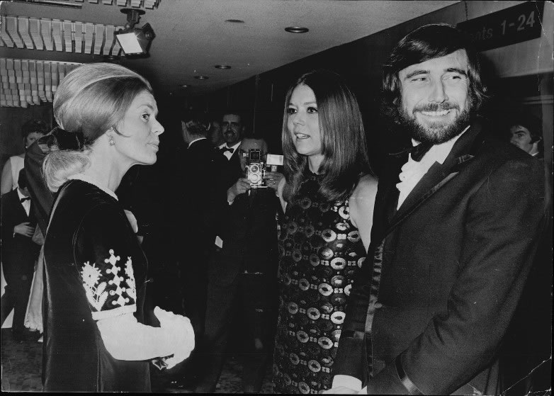 George Lazenby and Diana Rigg attend the On Her Majestys Secret Service premiere in London