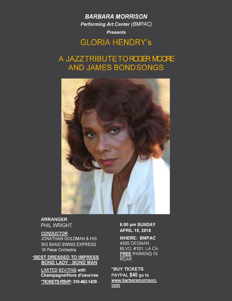 Gloria Hendry Jazz Tribute Roger Moore James Bond