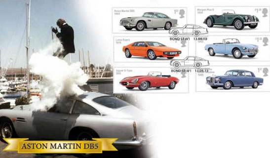 James bond aston martin DB5 stamps