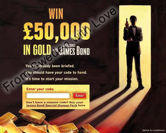 James Bond stamps gold coupon