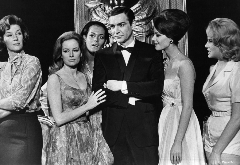 Lois Maxwell, Luciana Paluzzi, Martine Beswicke, Sean Connery, Claudine Auger & Mollie Peters in a publicity still for Thunderball