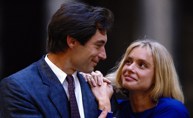 Maryam d'Abo and Timothy Dalton in a publicity photo for The Living Daylights