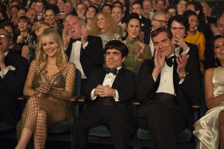 Helena Mattsson as Britt Ekland and Mark Umbers as Roger Moore in My Dinner with Herve