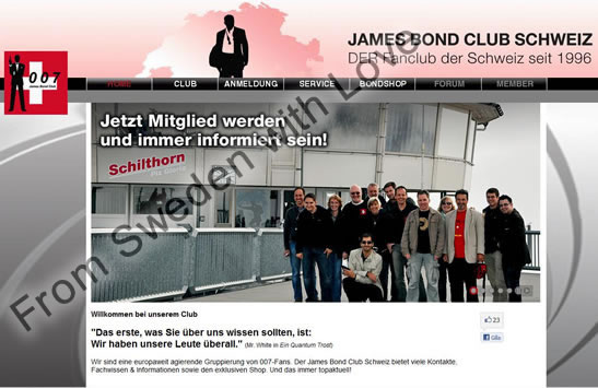 James Bond Club Schweiz website