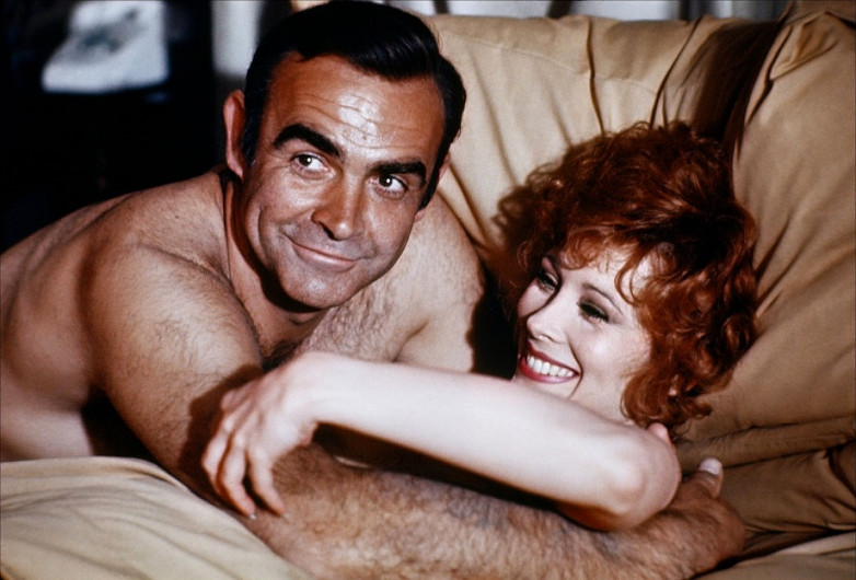 Sean Connery and Jill St. John during the filming of Diamonds Are Forever