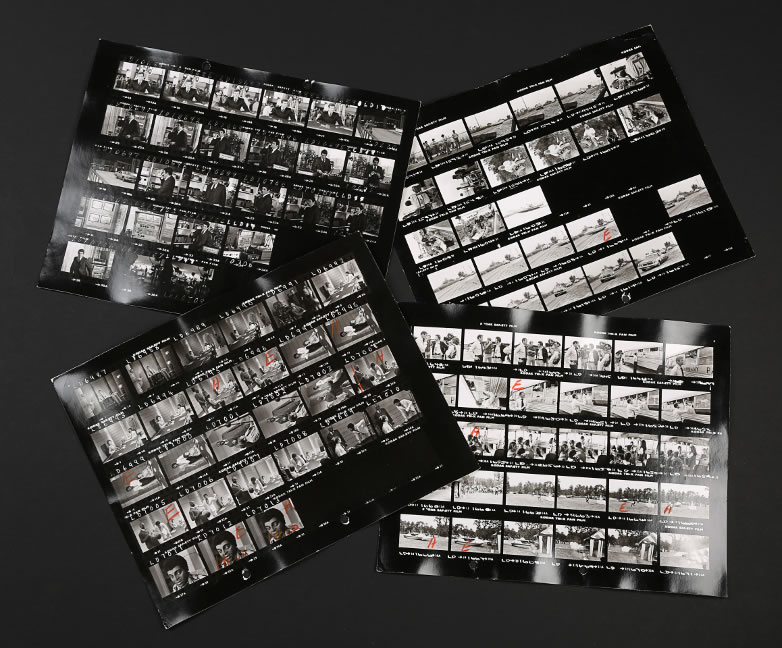 Set of four James Bond (Roger Moore) and Kananga (Yaphet Kotto) contact sheets