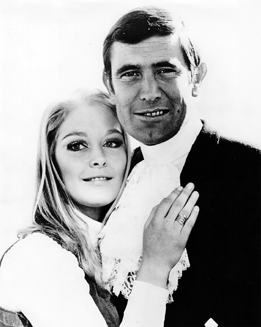 Jenny Hanley and George Lazenby in Switzerland