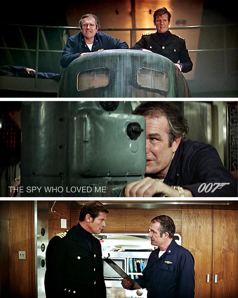 Shane Rimmer and Sir Roger Moore in The Spy Who Loved Me