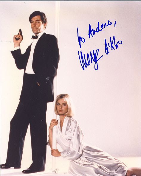 Maryam d'Abo, pictured with Timothy Dalton Signed 10x8 inch photo