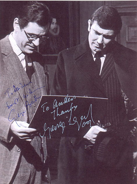 George Baker and George Lazenby 10x8, black and white