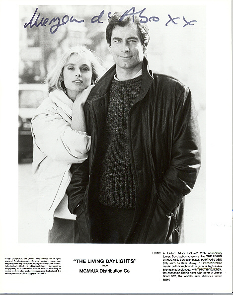 Maryam d'Abo, pictured with Timothy Dalton 10x8, black and white