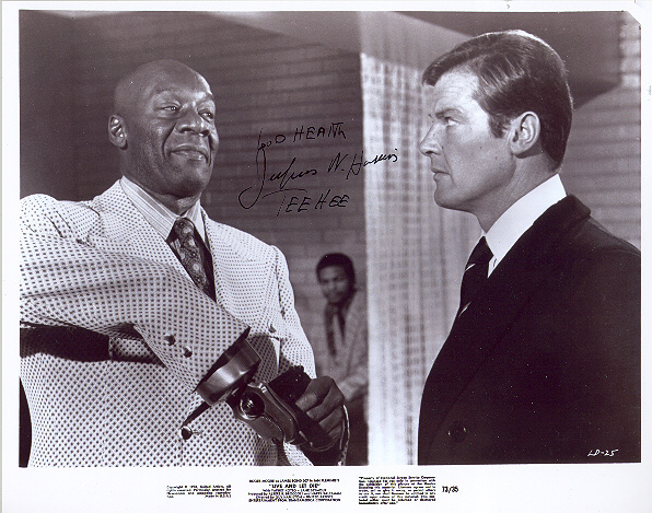 Julius Harris, pictured with Sir Roger Moore 10x8 black and white photo