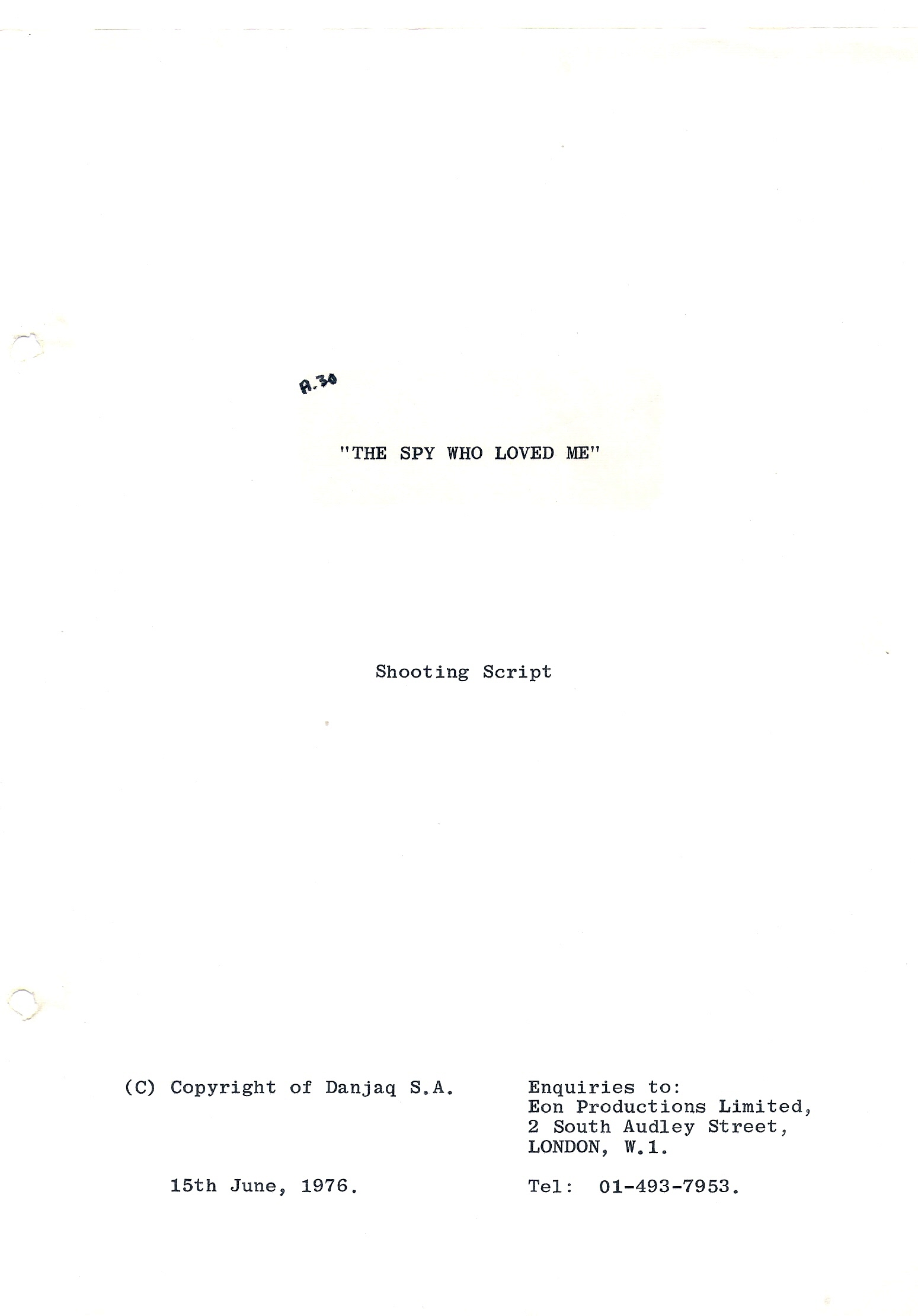 Original screenplay, 145 pages Shooting script