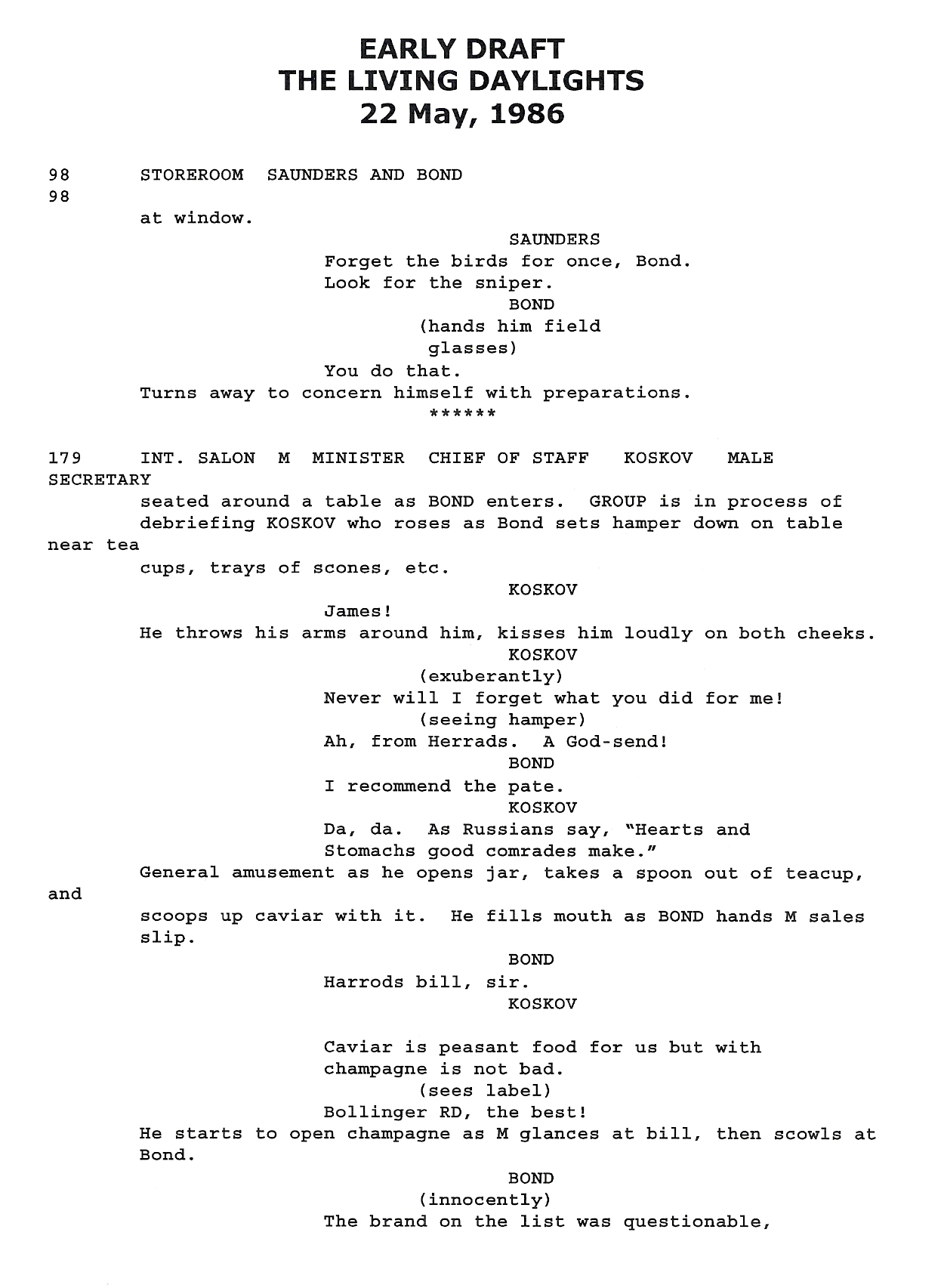 Original screenplay, 19 pages Early draft overview