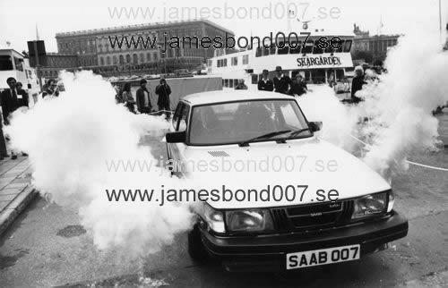 SAAB car outside the Royal Castle in Stockholm Black and white