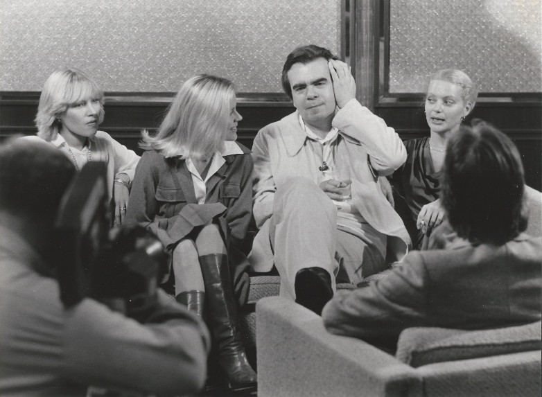 Beatrice Libert, Anne Lönnberg, Michael Lonsdale and Blanche Ravalec during a press conference for Moonraker in Brussels 1979