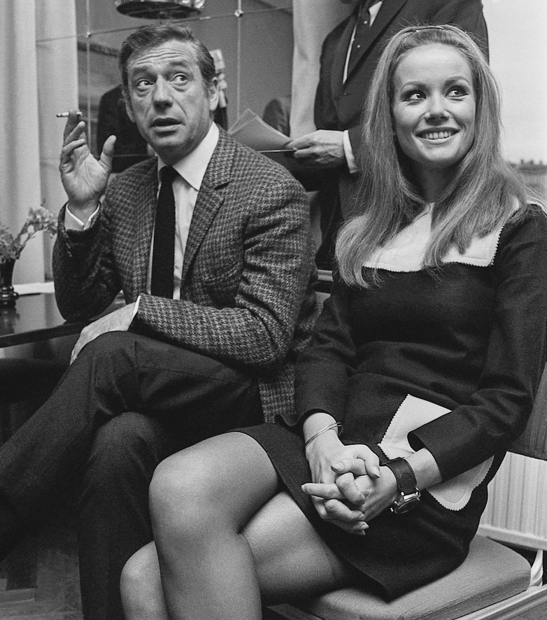 Claudine Auger in Stockholm 1967 with Yves Montand