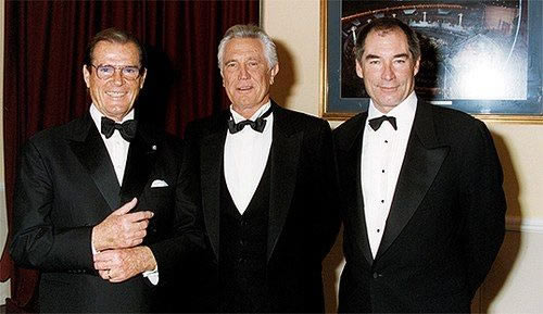 Roger Moore with George Lazenby and Timothy Dalton