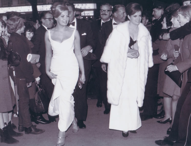 Mollie Peters and Luciana Paluzzi at the Thunderball premiere in London 1965
