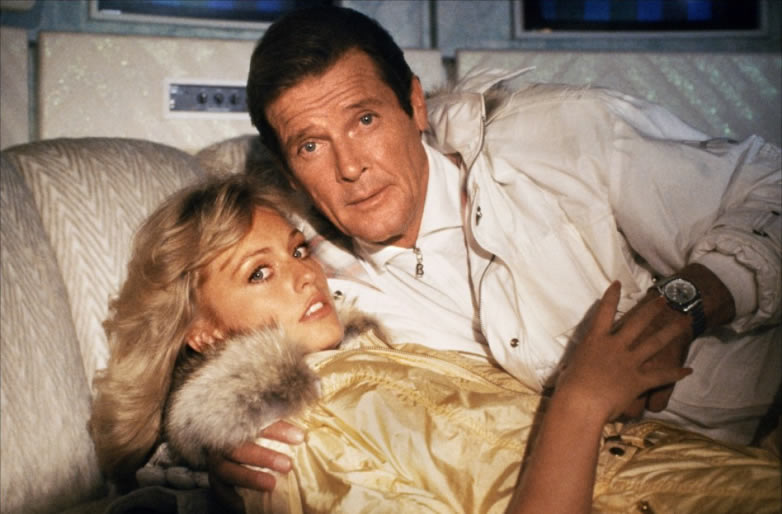 Mary Stavin and Roger Moore in A View to a Kill