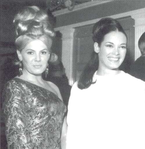 Mollie Peters and Martine Beswicke at a Thunderball premiere in 1965