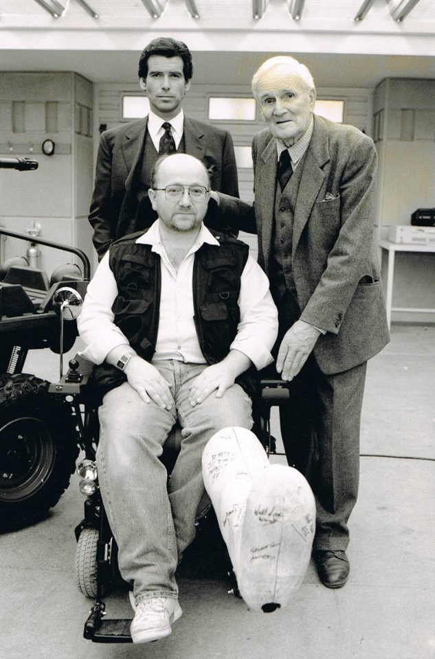 Nick Finlayson with Pierce Brosnan and Desmond Llewelyn during the filming of GoldenEye