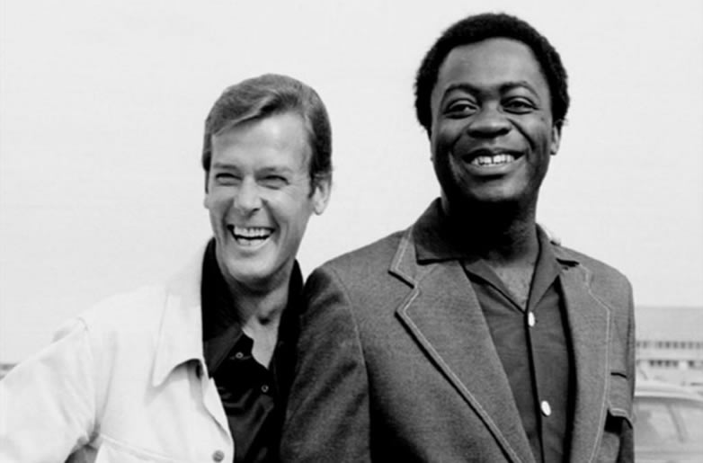 Yaphet Kotto with Roger Moore on Live and Let Die