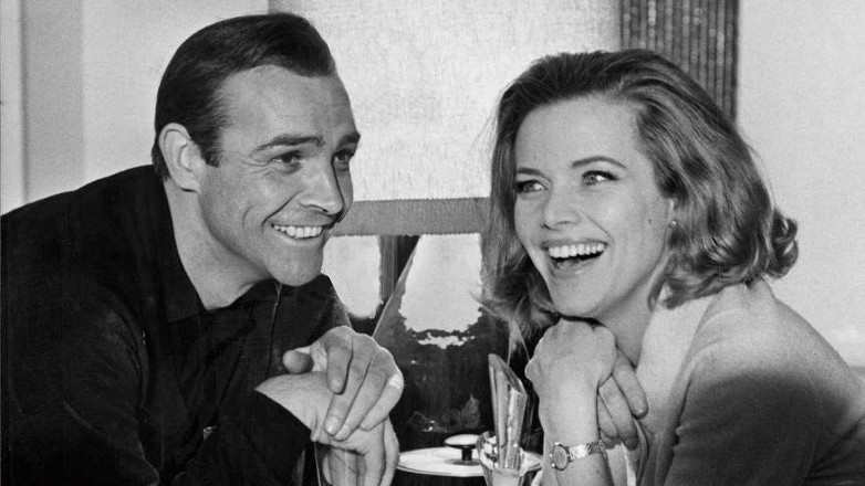 Sean Connery and Honor Blackman during the filming of Goldfinger