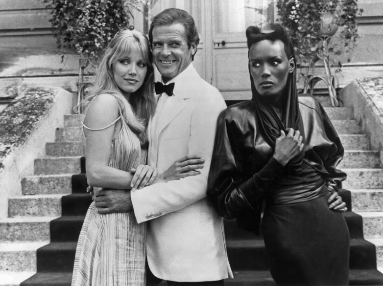 Tanya Roberts, Roger Moore and Grace Jones at Chantilly in Paris