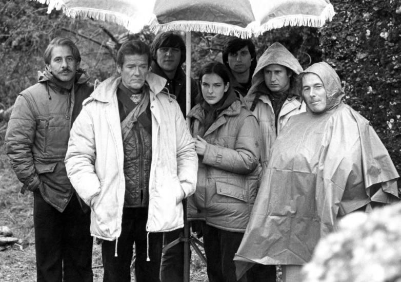 John Glen with Roger Moore on the set of For Your Eyes Only in Greece