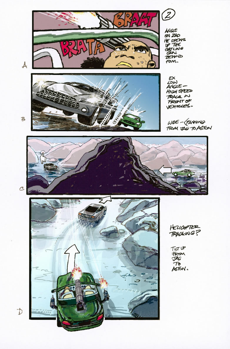 Die Another Day biljakt storyboard av Martin Asbury