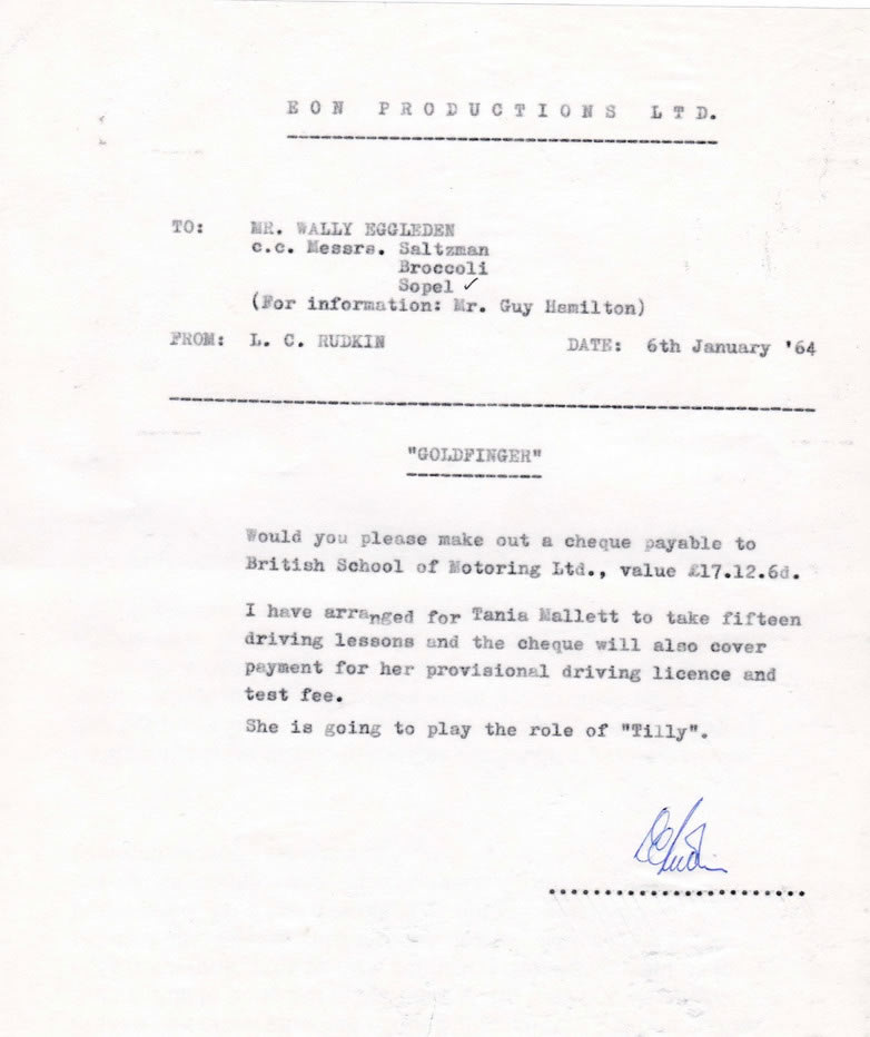 Goldfinger production memo requesting driving lessons for Tania Mallet