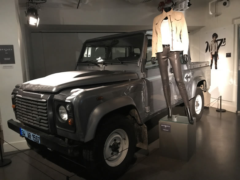 Land Rover Defender from Skyfall with Moneypenny costume, now on display at Bond in Motion