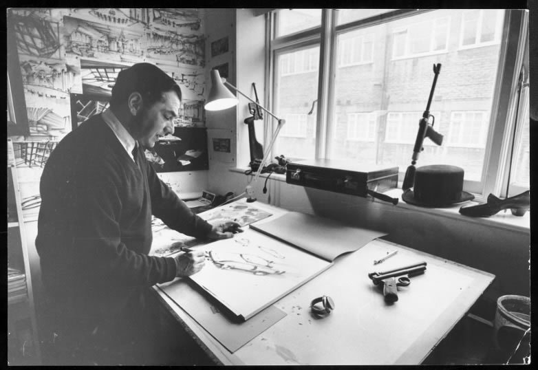 Thunderball Ken Adam at his drawing board