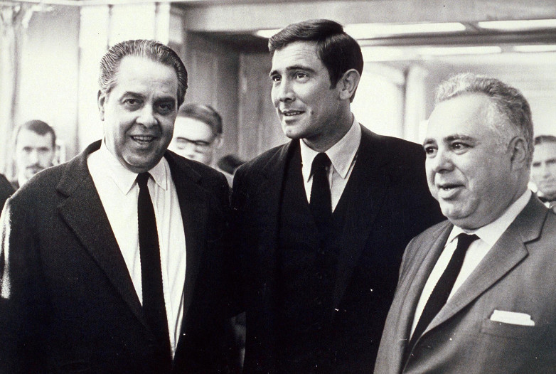 Cubby Broccoli, George Lazenby and Harry Saltzman
